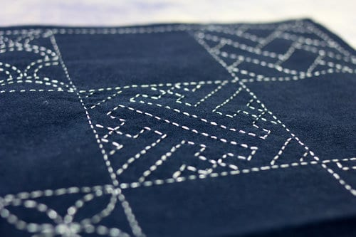 Eleganza™ makes a statement when used for sashiko, a traditional Japanese stitching technique often done on indigo fabric.